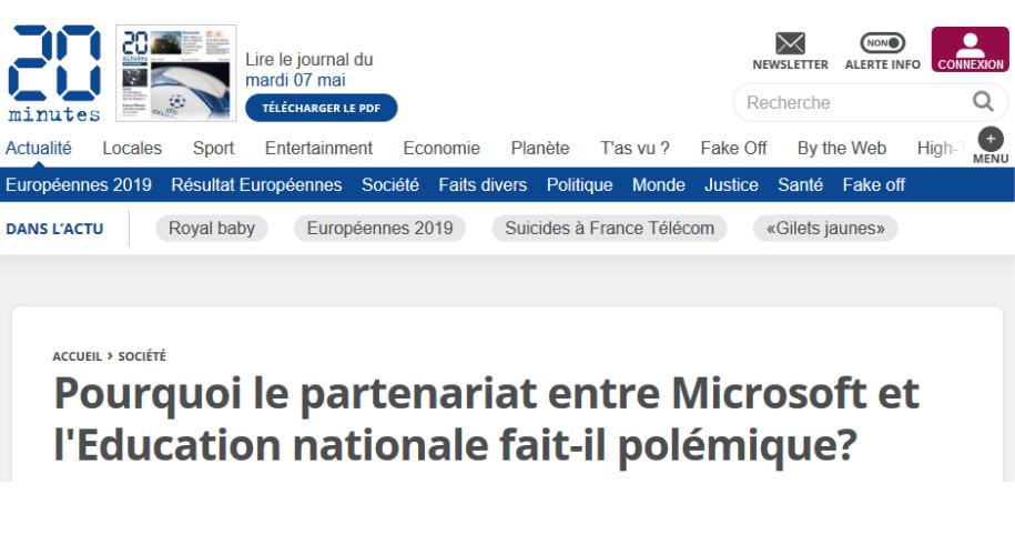 """Article du journal 20 minutes """"Pourquoi le partenariat entre Microsoft et l'Education nationale fait-il polémique?"""""""