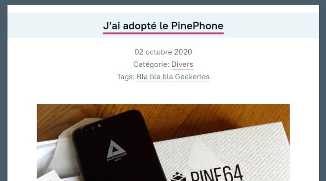 J'ai adopté le PinePhone