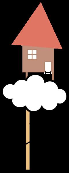 Une cabane sur un nuage avec un bonhomme qui en descend le long d'un câble.