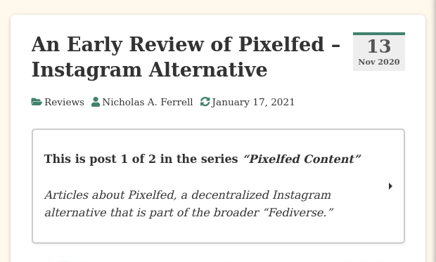 An Early Review of Pixelfed - Instagram Alternative • The New Leaf Journal